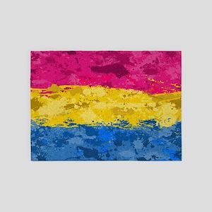 Pansexual Paint Splatter Flag 5'x7'Area Rug