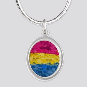 Pansexual Paint Splatter Flag Silver Oval Necklace