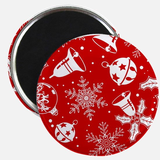 Red Christmas Pattern Magnets