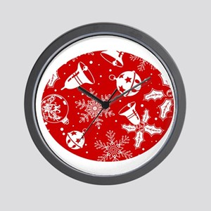 Red Christmas Pattern Wall Clock