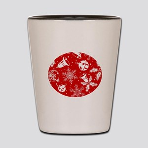 Red Christmas Pattern Shot Glass