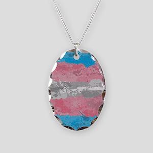 Transgender Paint Splatter Fla Necklace Oval Charm