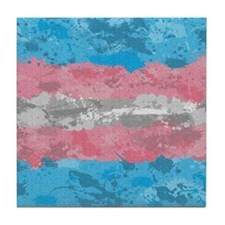 Transgender Paint Splatter Flag Tile Coaster