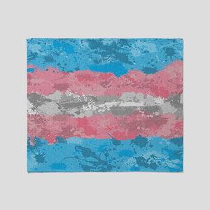Transgender Paint Splatter Flag Throw Blanket