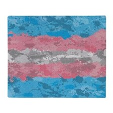 Transgender Paint Splatter Flag Throw Blanket