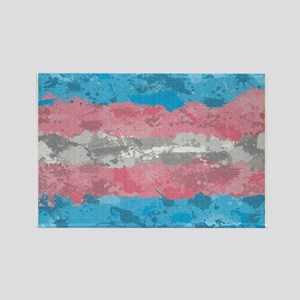 Transgender Paint Splatter Flag Rectangle Magnet