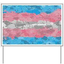 Transgender Paint Splatter Flag Yard Sign