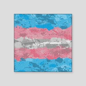 """Transgender Paint Splatter Square Sticker 3"""" x 3"""""""