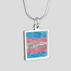 Transgender Paint Splatter Silver Square Necklace