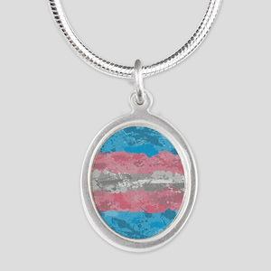 Transgender Paint Splatter Fl Silver Oval Necklace