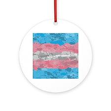 Transgender Paint Splatter Flag Round Ornament