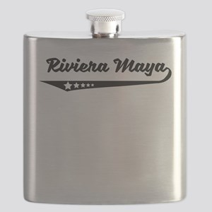 Riviera Maya Mexico Retro Logo Flask