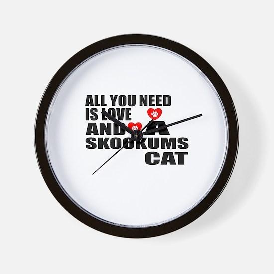 All You Need Is Love skookums Cat Desig Wall Clock