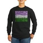 Genderqueer Paint Splatte Long Sleeve Dark T-Shirt