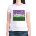 Genderqueer Paint Splatter Flag Jr. Ringer T-Shirt
