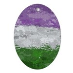 Genderqueer Paint Splatter Flag Oval Ornament