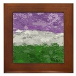Genderqueer Paint Splatter Flag Framed Tile