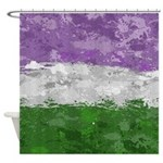 Genderqueer Paint Splatter Flag Shower Curtain