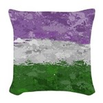 Genderqueer Paint Splatter Fla Woven Throw Pillow