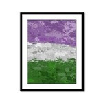 Genderqueer Paint Splatter Flag Framed Panel Print
