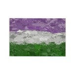 Genderqueer Paint Splatter Flag Rectangle Magnet