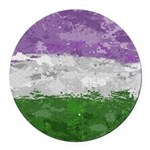 Genderqueer Paint Splatter Flag Round Car Magnet