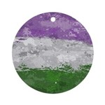 Genderqueer Paint Splatter Flag Round Ornament
