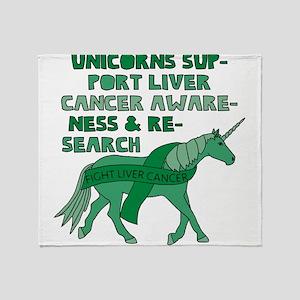 Unicorns Support Liver Cancer Awaren Throw Blanket