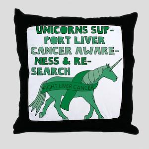 Unicorns Support Liver Cancer Awarene Throw Pillow