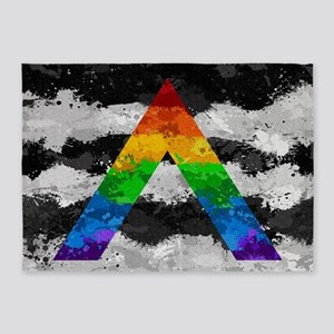 LGBT Ally Paint Splatter Flag 5'x7'Area Rug