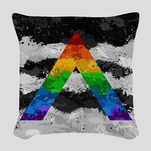 LGBT Ally Paint Splatter Flag Woven Throw Pillow