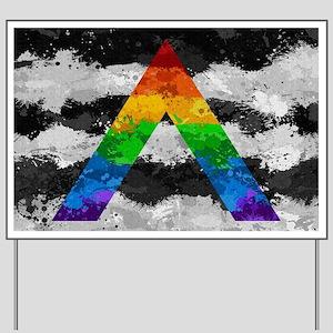 LGBT Ally Paint Splatter Flag Yard Sign