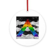 LGBT Ally Paint Splatter Flag Round Ornament