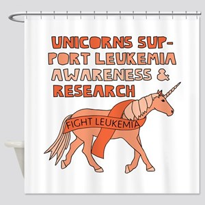 Unicorns Support Leukemia Awareness Shower Curtain