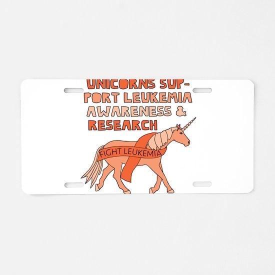 Unicorns Support Leukemia A Aluminum License Plate