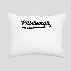 Pittsburgh PA Retro Logo Rectangular Canvas Pillow