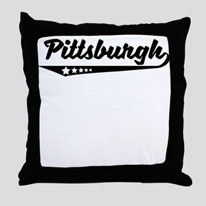 Pittsburgh PA Retro Logo Throw Pillow