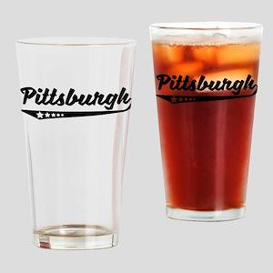 Pittsburgh PA Retro Logo Drinking Glass