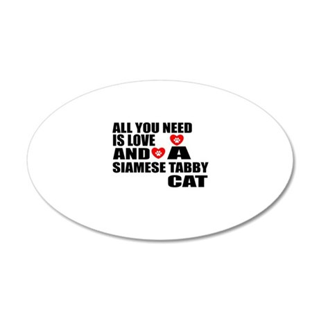 All You Need Is Love Siamese 20x12 Oval Wall Decal