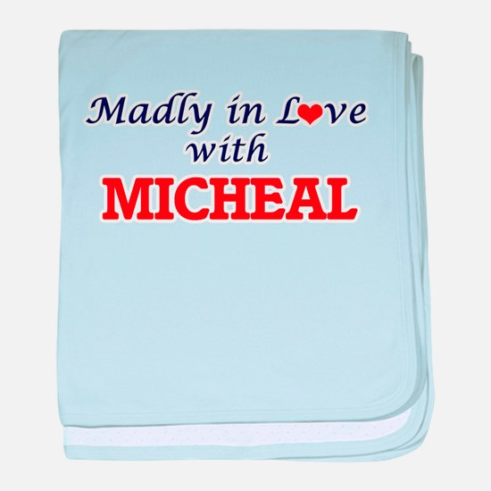 Madly in love with Micheal baby blanket