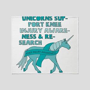 Unicorns Support Knee Injury Awarene Throw Blanket