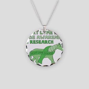 Unicorns Support Lyme Diseas Necklace Circle Charm