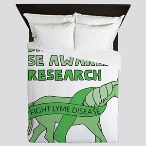Unicorns Support Lyme Disease Awarenes Queen Duvet