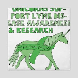 Unicorns Support Lyme Disease Awarenes Queen Duvet