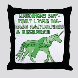 Unicorns Support Lyme Disease Awarene Throw Pillow