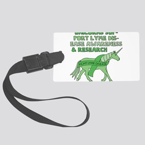 Unicorns Support Lyme Disease Aw Large Luggage Tag