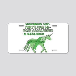 Unicorns Support Lyme Disea Aluminum License Plate
