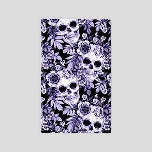 Skulls and Flowers Blue Area Rug
