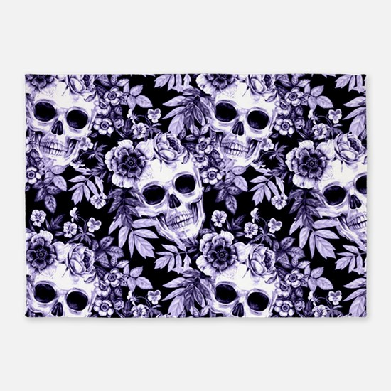 Skulls and Flowers Blue 5'x7'Area Rug