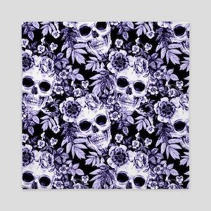 Skulls and Flowers Blue Queen Duvet